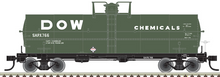 Atlas O  Dow Chemical (green)  11,000 gallon tank car, 3 rail or 2 rail