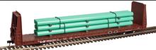 Atlas O L&N  62' Bulkhead Flat car w/pipe load, 3 rail or 2 rail