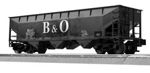 Lionel / Weaver  B&O 3 bay offset hopper car, PLASTIC 3r or 2r trucks/couplers