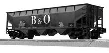 Lionel / Weaver  B&O 3 bay offset hopper car, PLASTIC 3r or 2r trucks/couplers