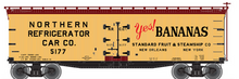 Atlas O Yes! Bananas 40' wood reefer,, 3 rail or 2 rail