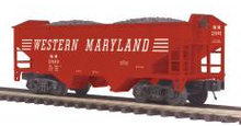 MTH Premier Western Maryland 2-Bay Offset Hopper w/Coal Load, 3 rail