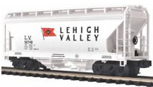 MTH Premier Lehigh Valley 2-Bay Centerflow Covered Hopper, 3 rail