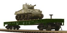 MTH Premier U.S. Army Flatcar with M4 Sherman Tank, 3 rail