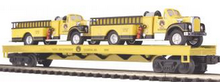 MTH Premier Flatcar with Yellow Die-cast Fire Trucks, 3 rail