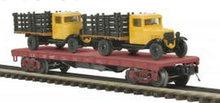 MTH Premier Union Pacific 41' Flatcar w/ (2) Ertl '30 Chevy Stake Body Trucks, 3 rail