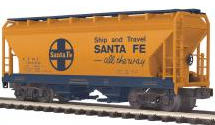 MTH Premier Santa Fe 2-Bay Centerflow Covered Hopper, 3 rail