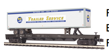 MTH Premier B&O Flat Car with 48' Trailer, 3 rail