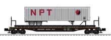 Lionel  Northern Pacific  trailer on 50'  wood deck flat car