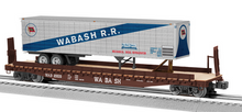 Lionel  Wabash  trailer on 50'  wood deck flat car