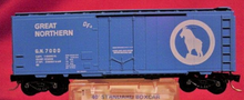 Crown model prods (Atlas/Roco) GN sky blue 40' plug door box car,  3 rail