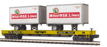 MTH Premier TTX Flat Car with (2) 20'  MOL Trailers, 3 rail