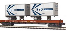 MTH Premier TTX Flat Car with (2) 20'  B&O Trailers, 3 rail