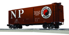 Lionel / Weaver NP 40' PS-1 box car, 3 rail or 2 rail PLASTIC trucks/couplers