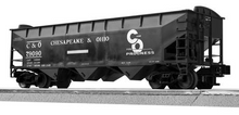 Lionel/Weaver C&O 3 bay offset hopper car, 3r or 2r PLASTIC trucks/couplers