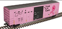 "Atlas O Railbox ""on track for the cure"" pink  50' ACF 1970's  box car, 3 rail or 2 rail"