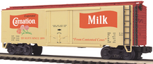 MTH Premier Carnation Milk 40' Plug Door (bunkerless) Reefer, 3 rail