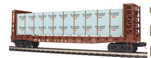 MTH Premier P&LE 50'  Bulkhead Flat Car w/ wrapped lumber Load, 3 rail