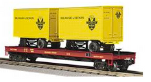 MTH Premier D&H Flat Car with (2) 20' Trailers, 3 rail