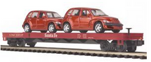MTH Premier Santa Fe 50' Flat Car with (2) PT Cruisers, 3 rail