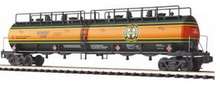 MTH Premier BNSF 60' 4 compartment Tank Car (green/orange), 3 rail