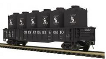 MTH Premier C&O  Gondola  w/ 6 LCL cement Containers, 3 rail