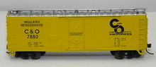 Atlas O C&O  40' plug door (bunkerless) reefer, 3 rail or 2 rail
