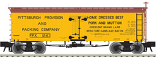 Atlas O Pittsburgh Provision & Packing  36' Wood Reefer, 3 rail or 2 rail