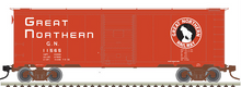 Pre-Order for Atlas O GN (red, block letters) 1937  (1930's-1960's vintage)   40' box  car, 3 rail or 2 rail