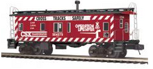 MTH Premier CSX (red) safety  Bay Window Caboose, 3 rail