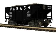 MTH Premier wabash 2-Bay Fishbelly Hopper w/Coal Load, 3 rail