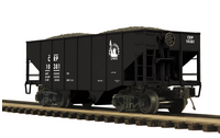 MTH Premier CRP 2-Bay Fishbelly Hopper w/Coal Load, 3 rail