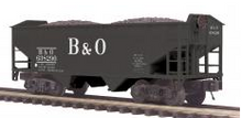 MTH Premier B&O 2-Bay Offset Hopper w/Coal Load, 3 rail