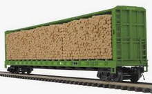 MTH Premier BN 75' Center Beam bulkhead Flat Car w/pulpwood Lumber Load, 3 rail