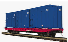 MTH Premier CP Rail 60' Flat Car w/trash containers, 3 rail