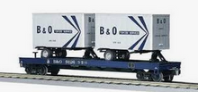 MTH Premier B&O Flat Car with (2) 20'  B&O Trailers, 3 rail
