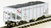 Atlas O Original Norfolk Southern (gray) diecast 2 Bay Fishbelly Hopper, 3 rail or 2 rail