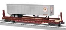 Lionel  PRR  trailer on 50'  wood deck flat car