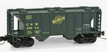Weaver special run CNW (green) 34' PS-2 covered hopper, 2 rail or 3 rail