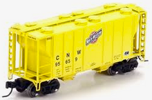 Weaver special run CNW (yellow) 34' PS-2 covered hopper, 2 rail or 3 rail