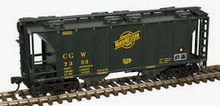 Weaver special run CGW/CNW (green) 34' PS-2 covered hopper, 2 rail or 3 rail