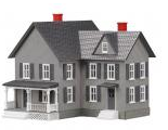 MTH O gauge Farm House Gray w/ black Shutters