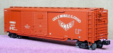 Lionel GM&O 50' double door box car with auto rack load , 3 rail