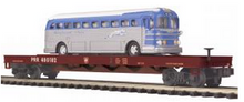 MTH Premier PRR Flatcar with Greyhound bus, 3 rail