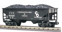 MTH Premier C&O 2-Bay Offset Hopper w/Coal Load, 3 rail