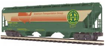 MTH Premier BNSF (green/cream/red) 3-Bay Centerflow Covered Hopper, 3 rail