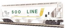 MTH Premier Soo Line 3-Bay Centerflow Covered Hopper, 3 rail