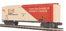 MTH Premier Canadian Forest Prods.  40' Plug Door Reefer (bunkerless) 3 rail