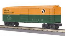 MTH Railking GN  40' Box car (green/orange) , 3 rail