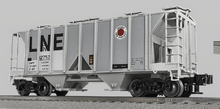 Lionel (Weaver) LNE (large letters) 34' ACF AC-2 covered hopper car, 3r or 2r PLASTIC trucks/couplers